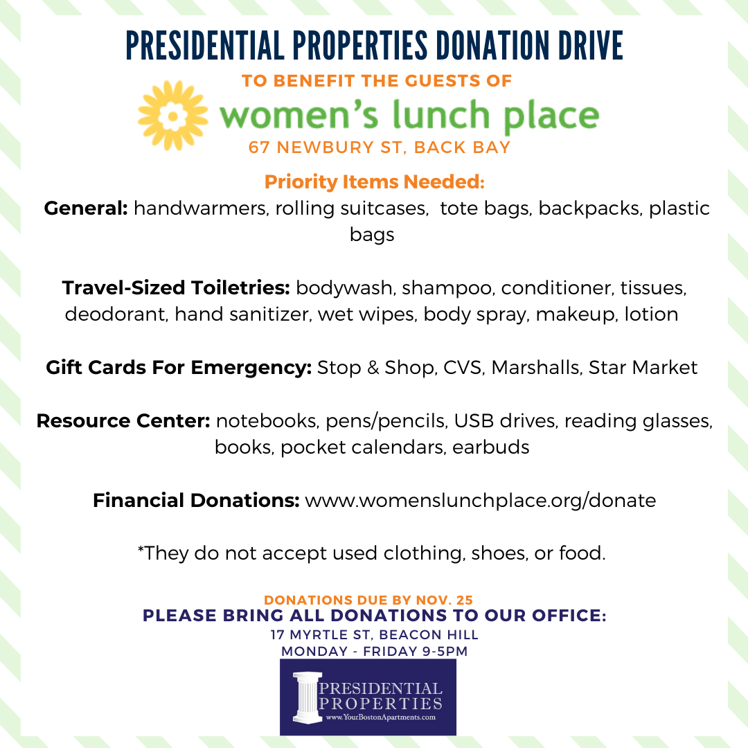 Presidential Properties DONATION DRIVE To Benefit Women's Lunch Place, Back Bay